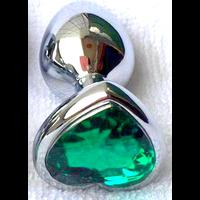 Plug anal rosebud vert en forme de coeur aluminuim chromé chirurgical