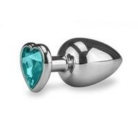 Plug anal rosebud bleu en forme de coeur taille M