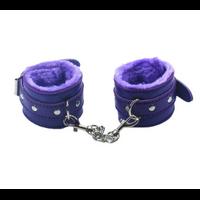 Menottes violettes poignets cuir moletonnées