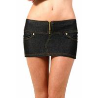 Minijupe taille basse, droite stretch jeans.