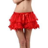 Minijupe rouge  à volants dentelle