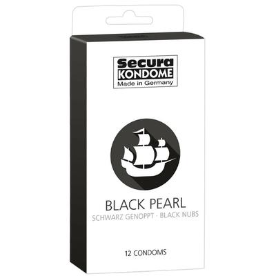 Préservatifs BLACK PEARL noirs perlés x12