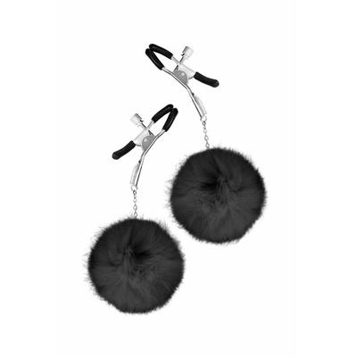 Pinces à seins pompon noir SWEET CARESS