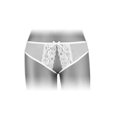 Culotte blanche largement ouverte.