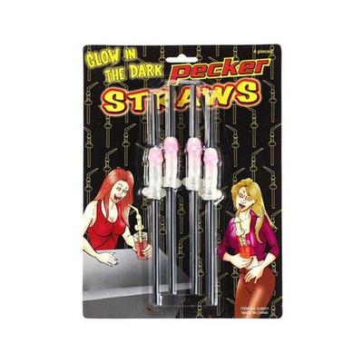 """lot de 4 pailles fluorescentes zizi """"Pecker straws"""""""