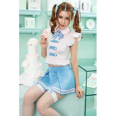 tenue-etudiante-écoliere-5-bleue-ciel-assise