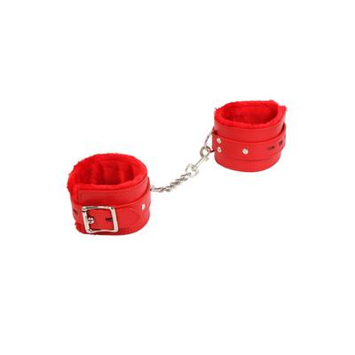Menottes chevillères en similicuir rouge cadenas