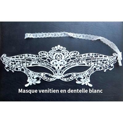 Masque venitien blanc brodé