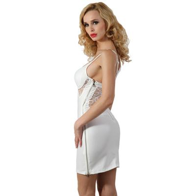 robe-blanche-zip-coté-sexy-spazm18178-profil