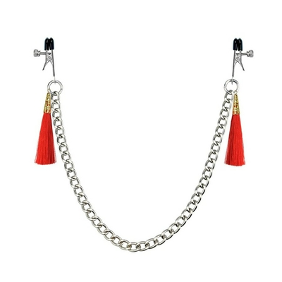 Pinces à tétons avec chaine et pompons rouges LOVETOY