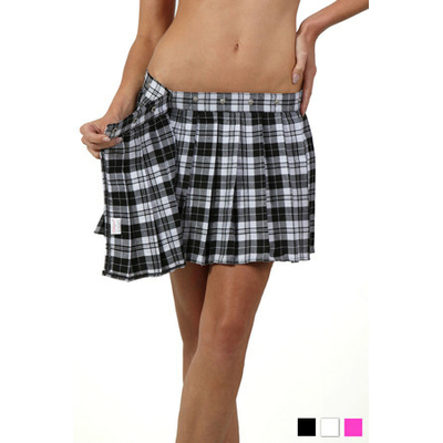 Jupe écossaisse noire et blanche portefeuille plissée