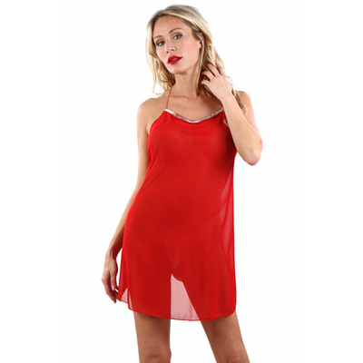 Top robe rouge résille fine