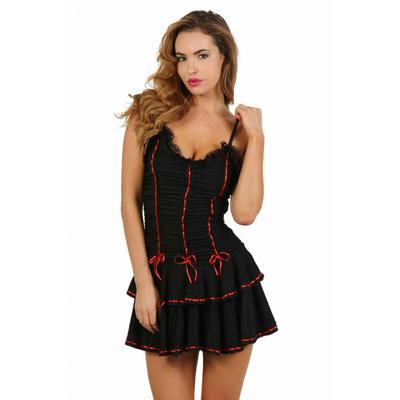 Robe corset à volants rouges