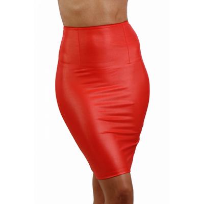 Jupe rouge 3/4 taille haute en Lycra laqué. S à 3Xl