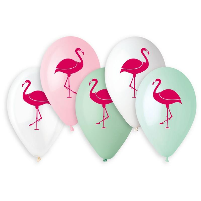 5 Ballons Flamant Rose