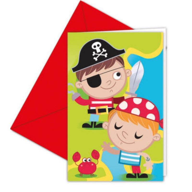 6 Cartes d\'invitation Les petits pirates