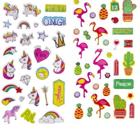 planche-stickers-licorne-flamant-rose