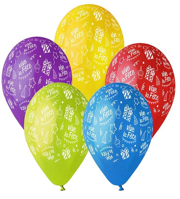 5 Ballons à gonfler Vive la fête
