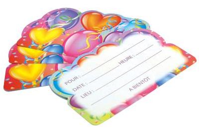 6 Cartes d\'invitation Anniversaire Ballons