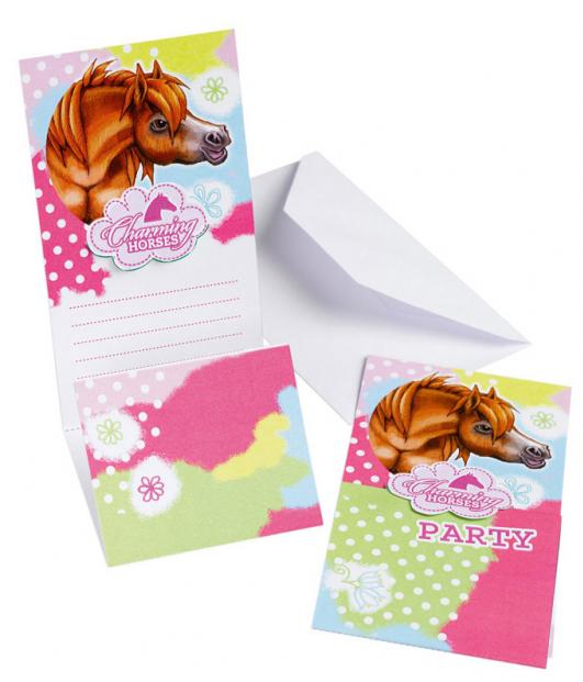 6 Cartes d\'invitation Charming Horses