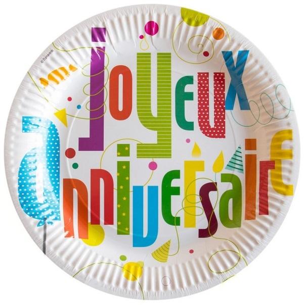 6 Assiettes En Carton Joyeux Anniversaire Fun