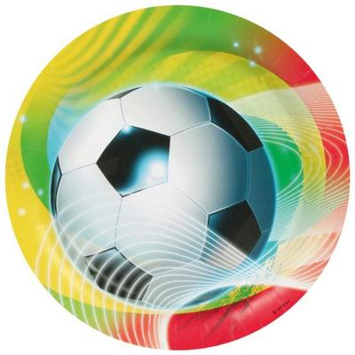 8 Assiettes Football Couleur