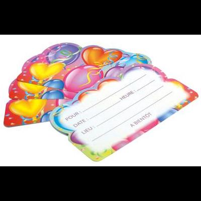 6 Cartes d'invitation Anniversaire Ballons