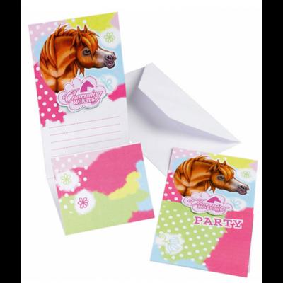 6 Cartes d'invitation Charming Horses