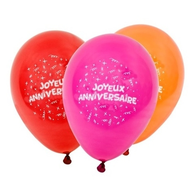 8 Ballons Joyeux Anniversaire Couleurs