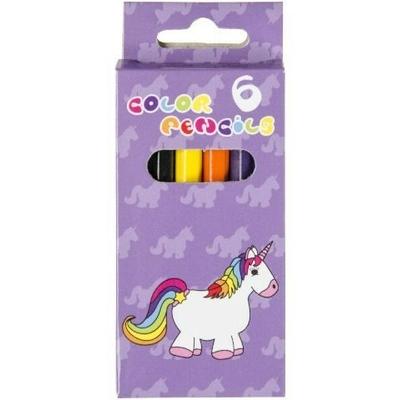 6 crayons de couleurs Licorne