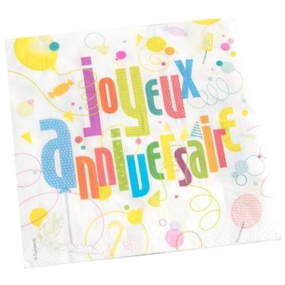 20 serviettes Joyeux Anniversaire Fun