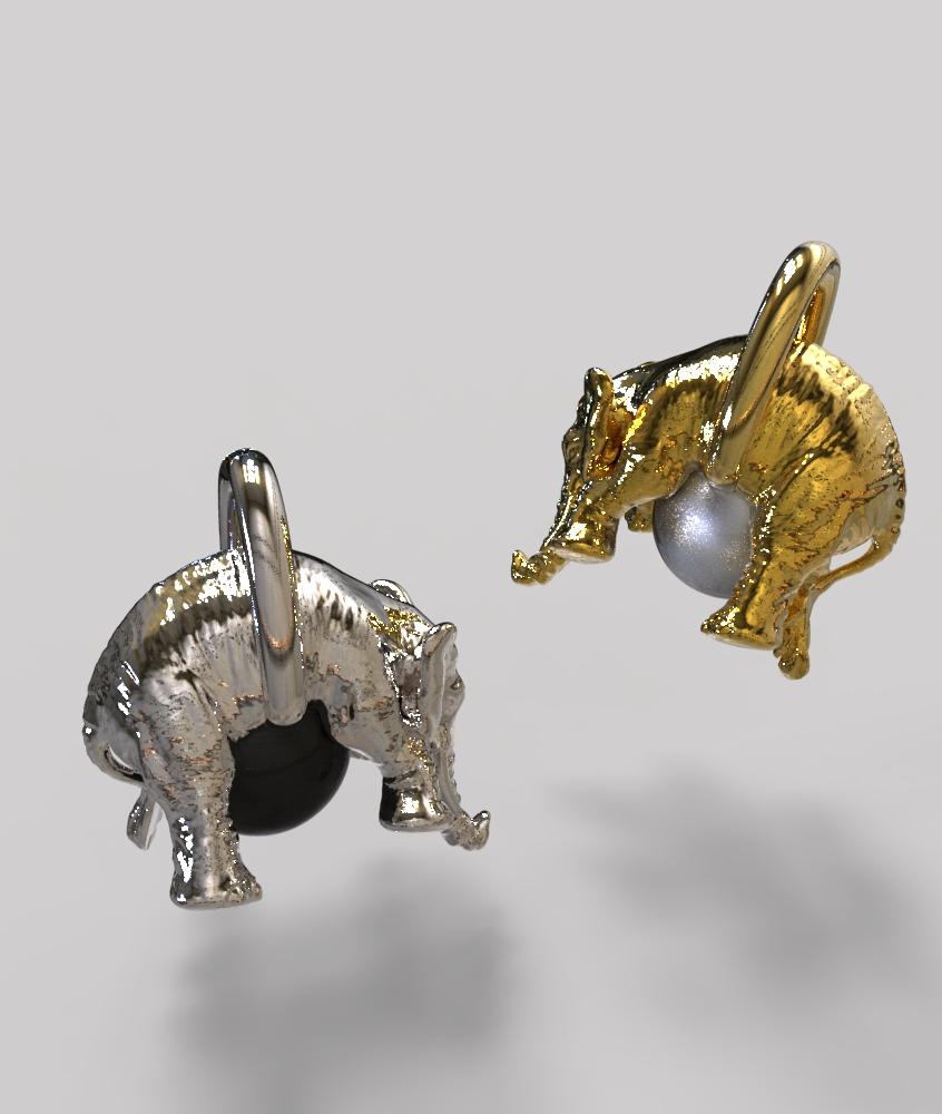 Pendentif Éléphant perle