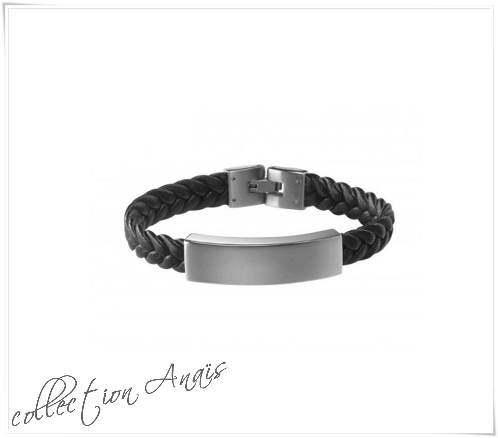 Bracelet gourmette cuir et acier.