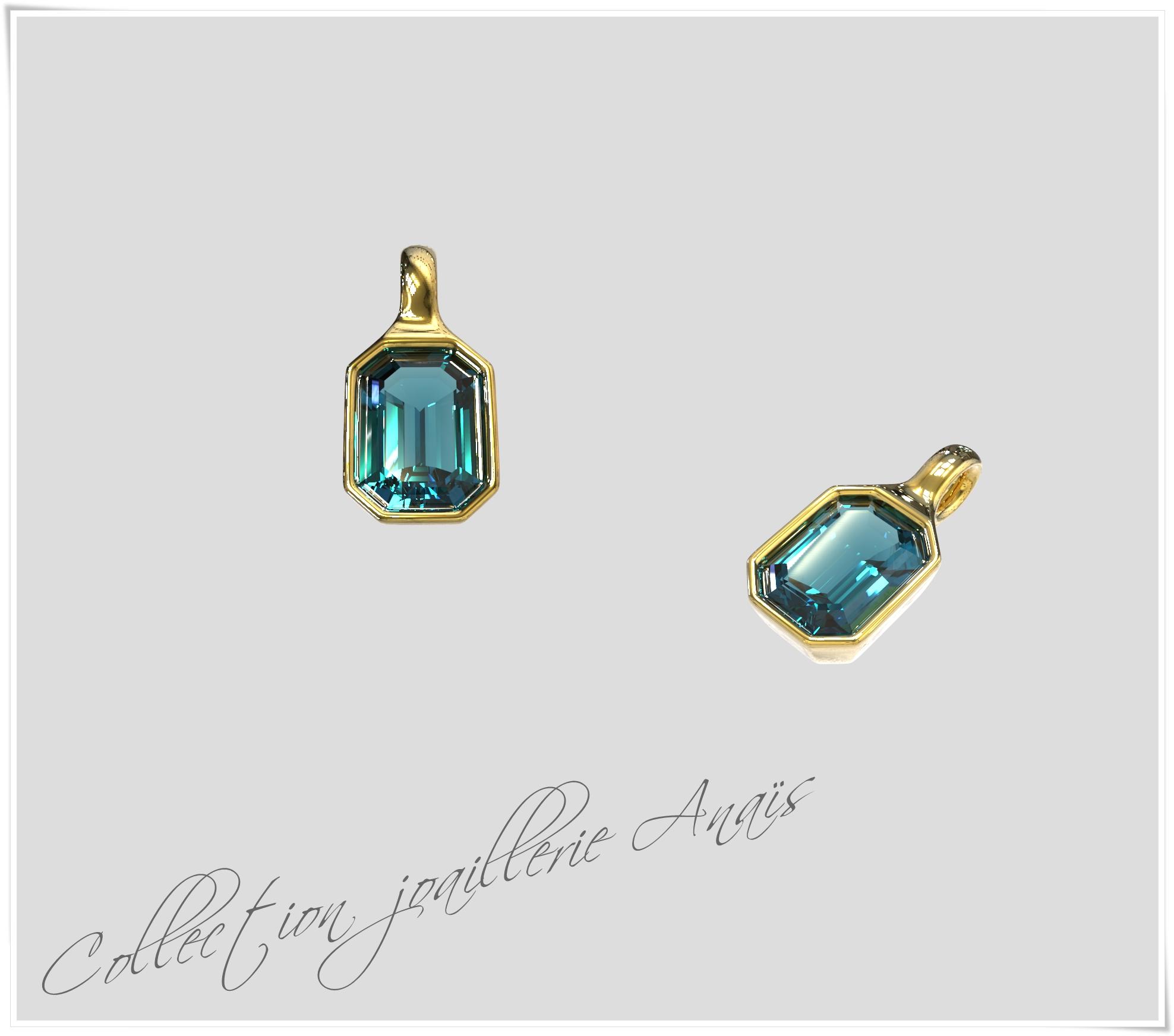 Pendentif or Topaze bleu