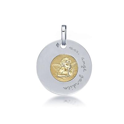 Médaille Ange en or bicolore 18K
