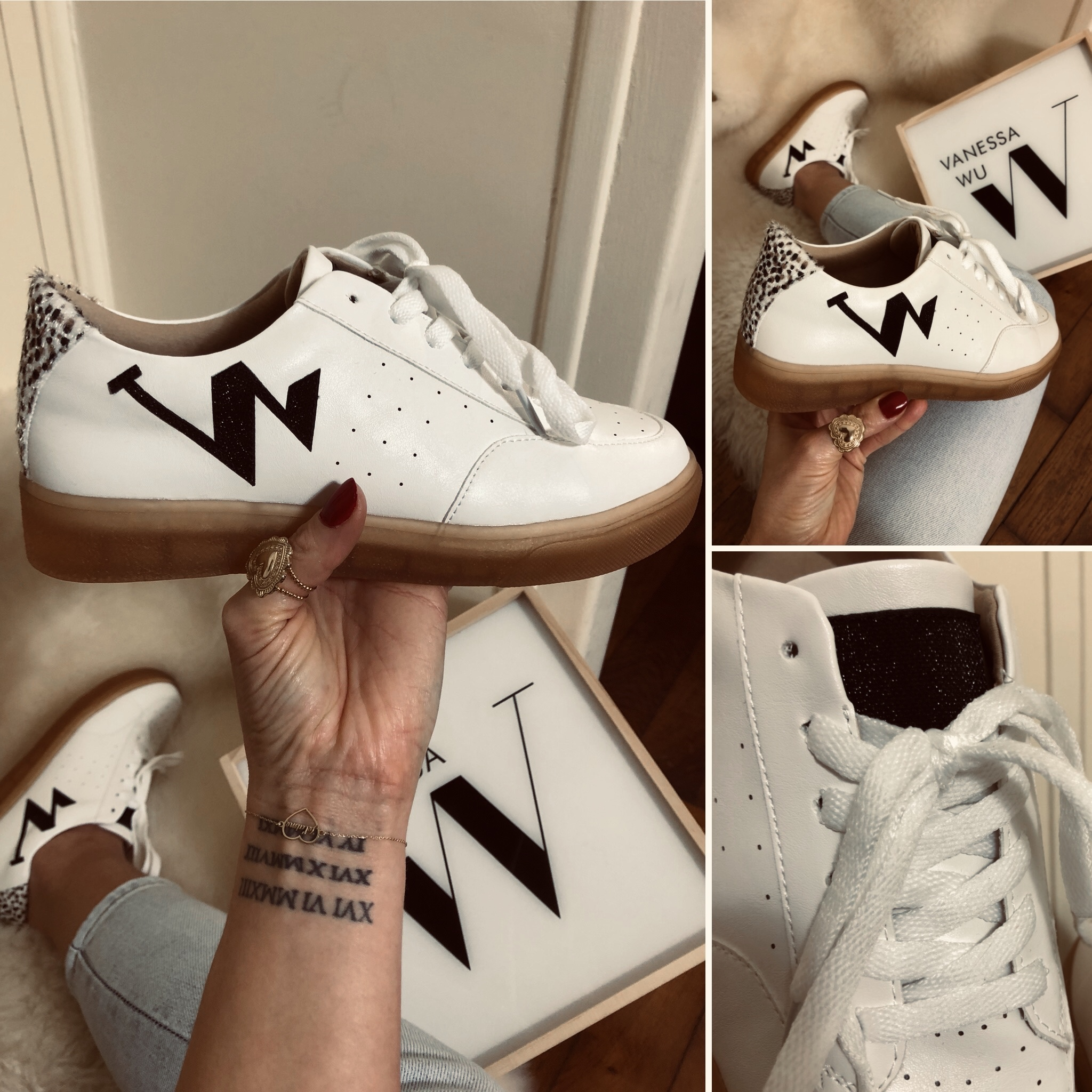 Baskets monogramme blanches et noires Chaussures