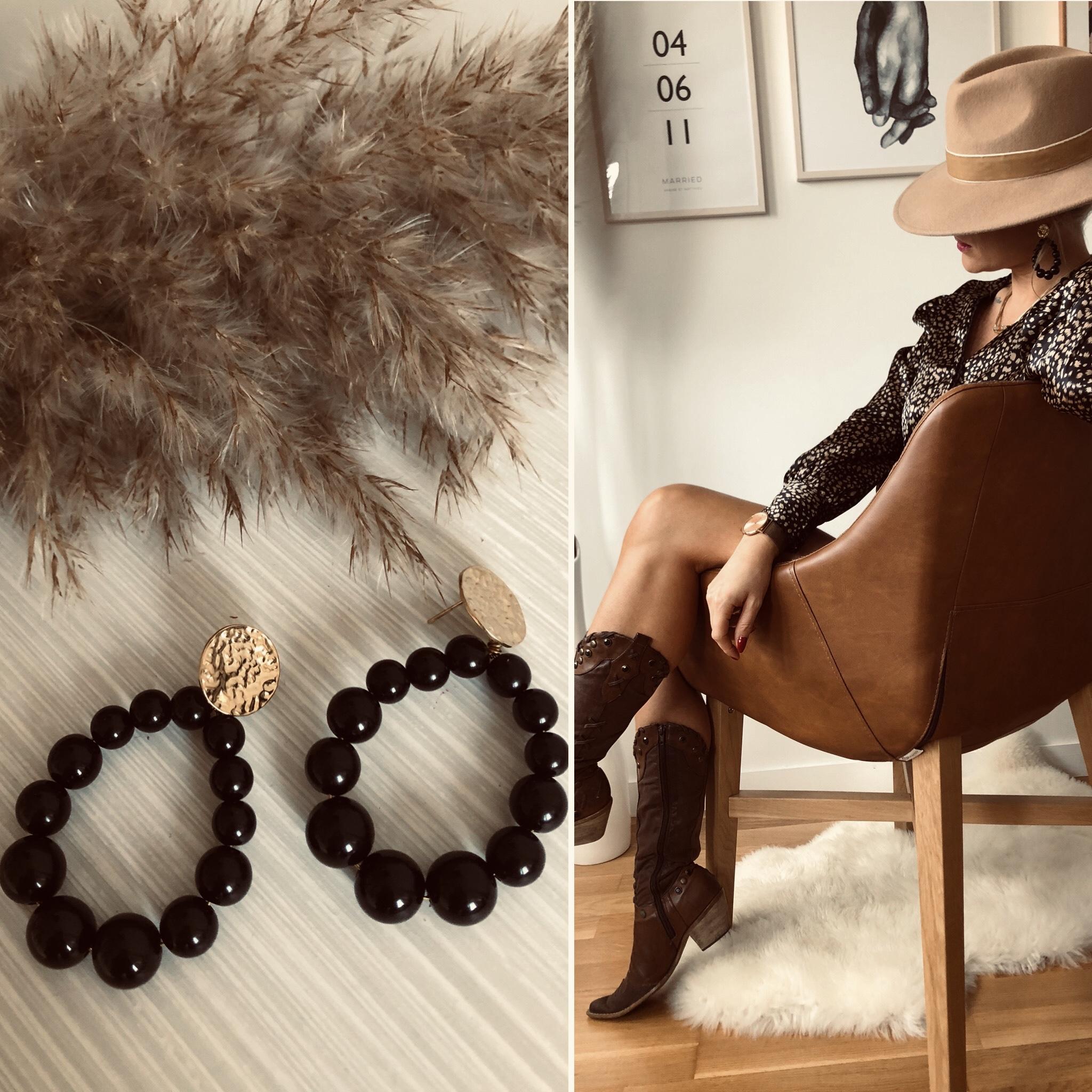 Boucles perles nacrées noires en ACIER doré à l\'OR fin