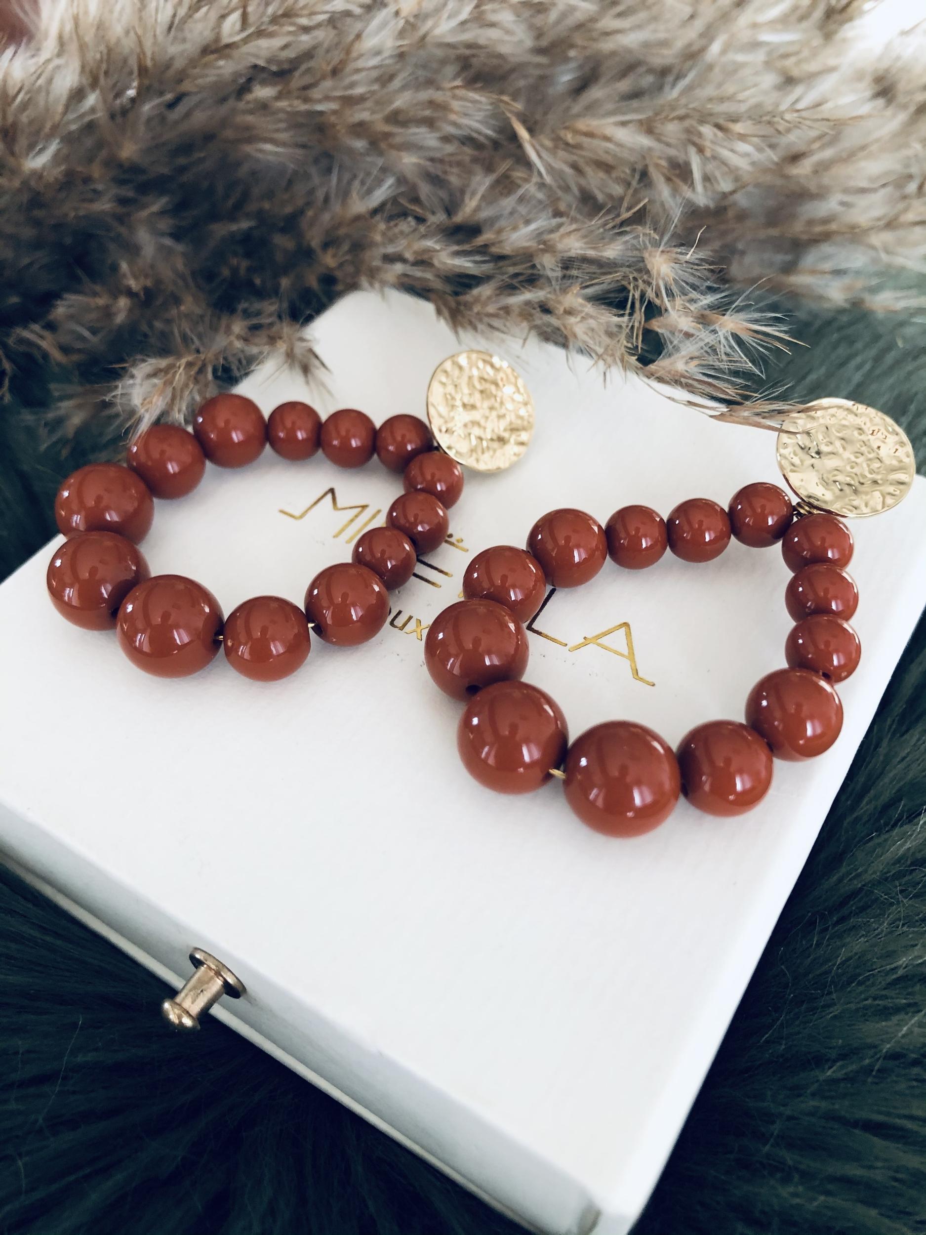 Boucles perles terracotta en ACIER doré à l\'Or fin