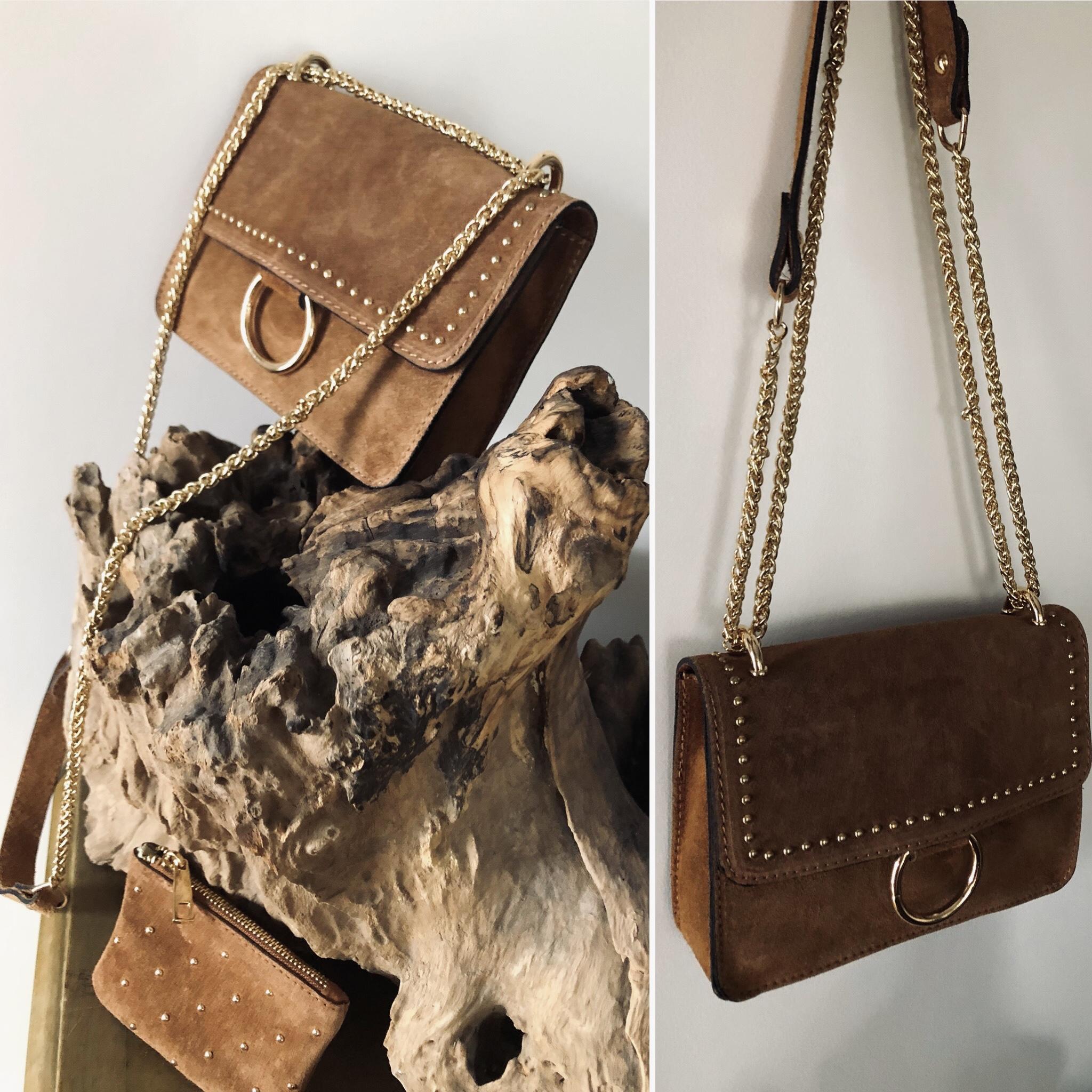 Sac Lahna camel en croûte de cuir de vachette