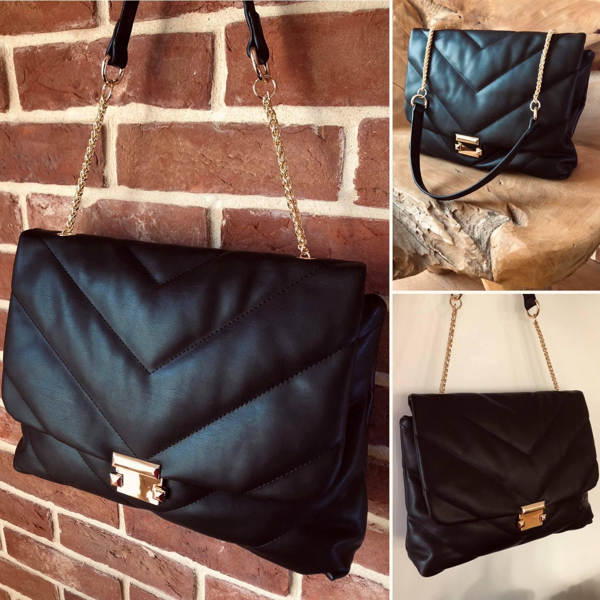 Grand sac Maria noir en simili cuir