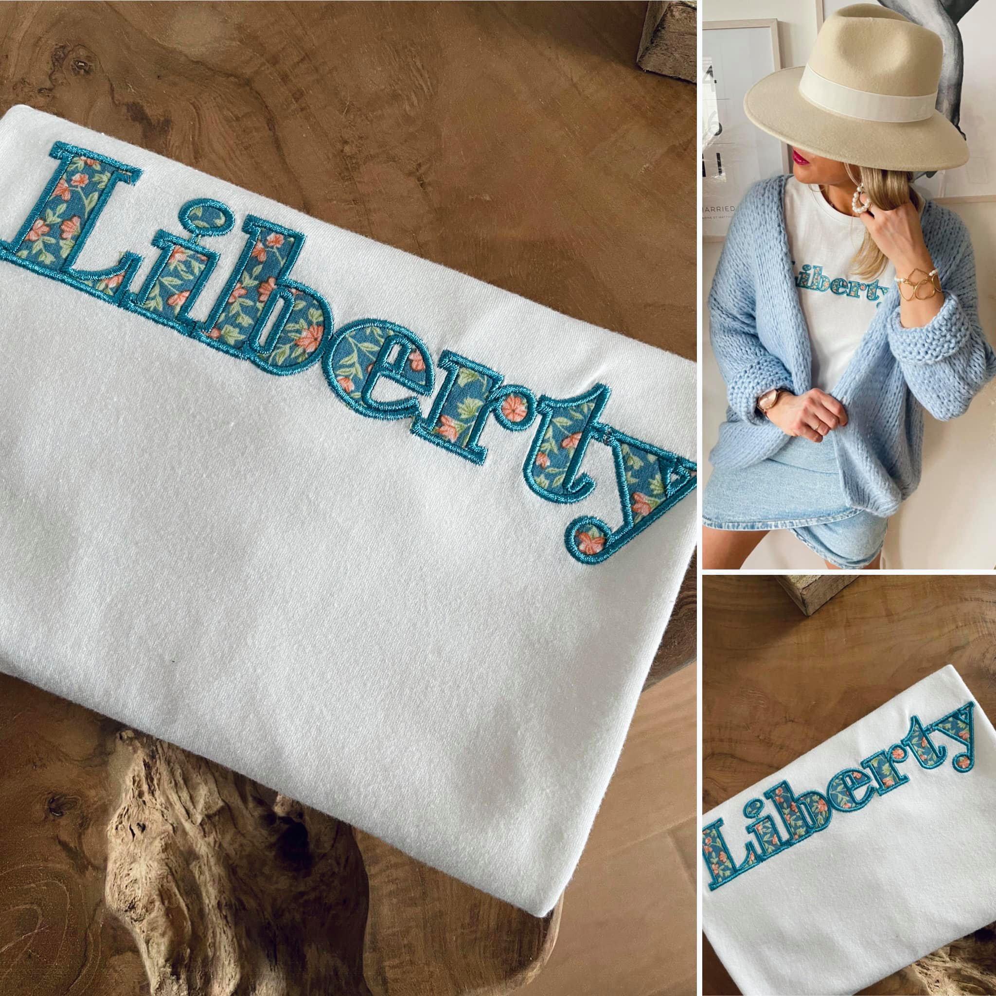 Tee-shirt imprimé LIBERTY bleu ciel