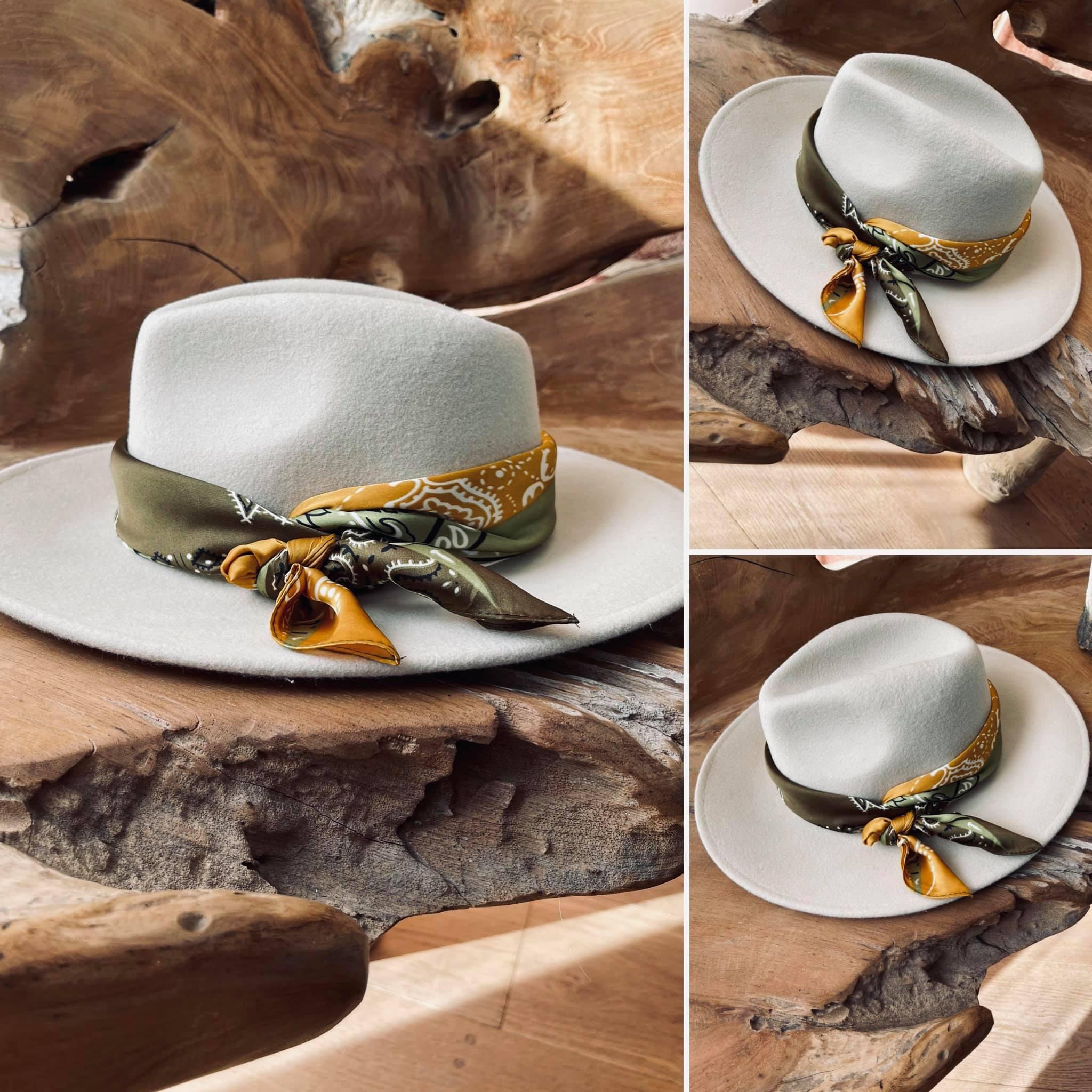 Grace-Chapeau en laine beige et son bandana