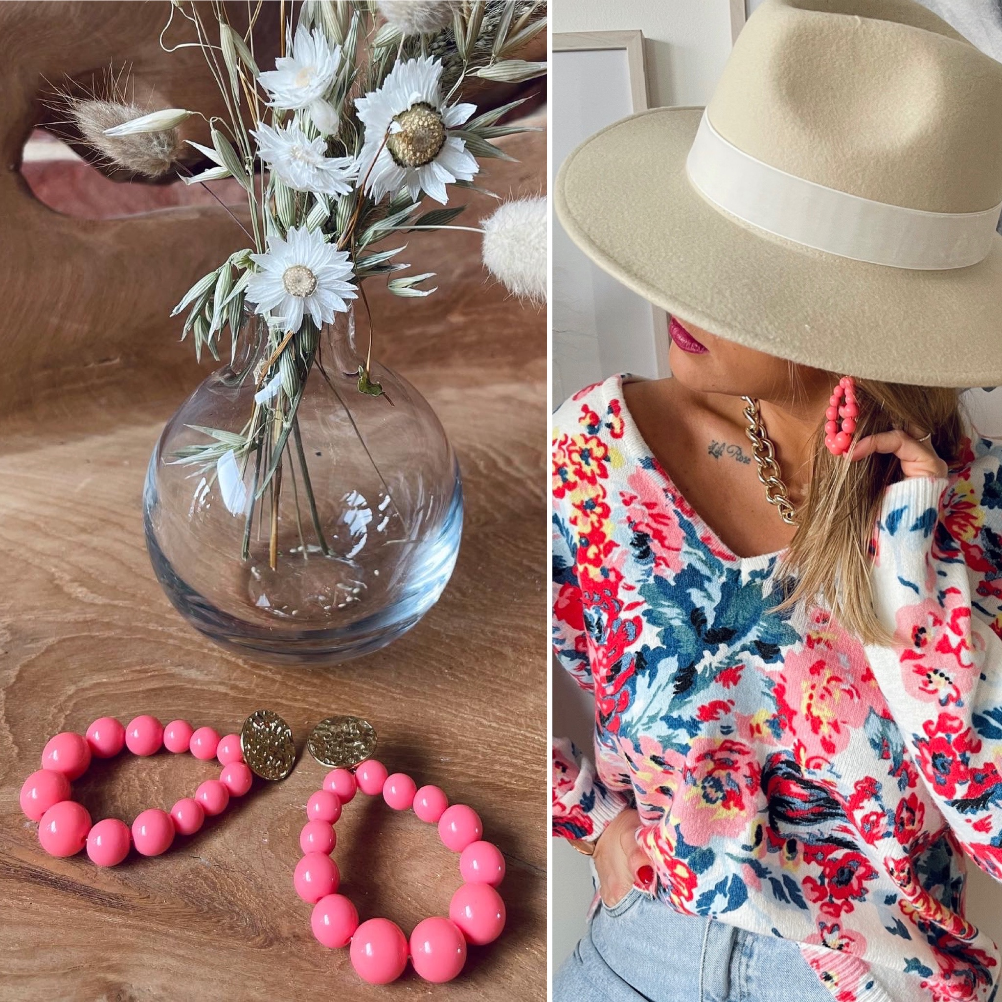 Boucles perles en ACIER rose bonbon