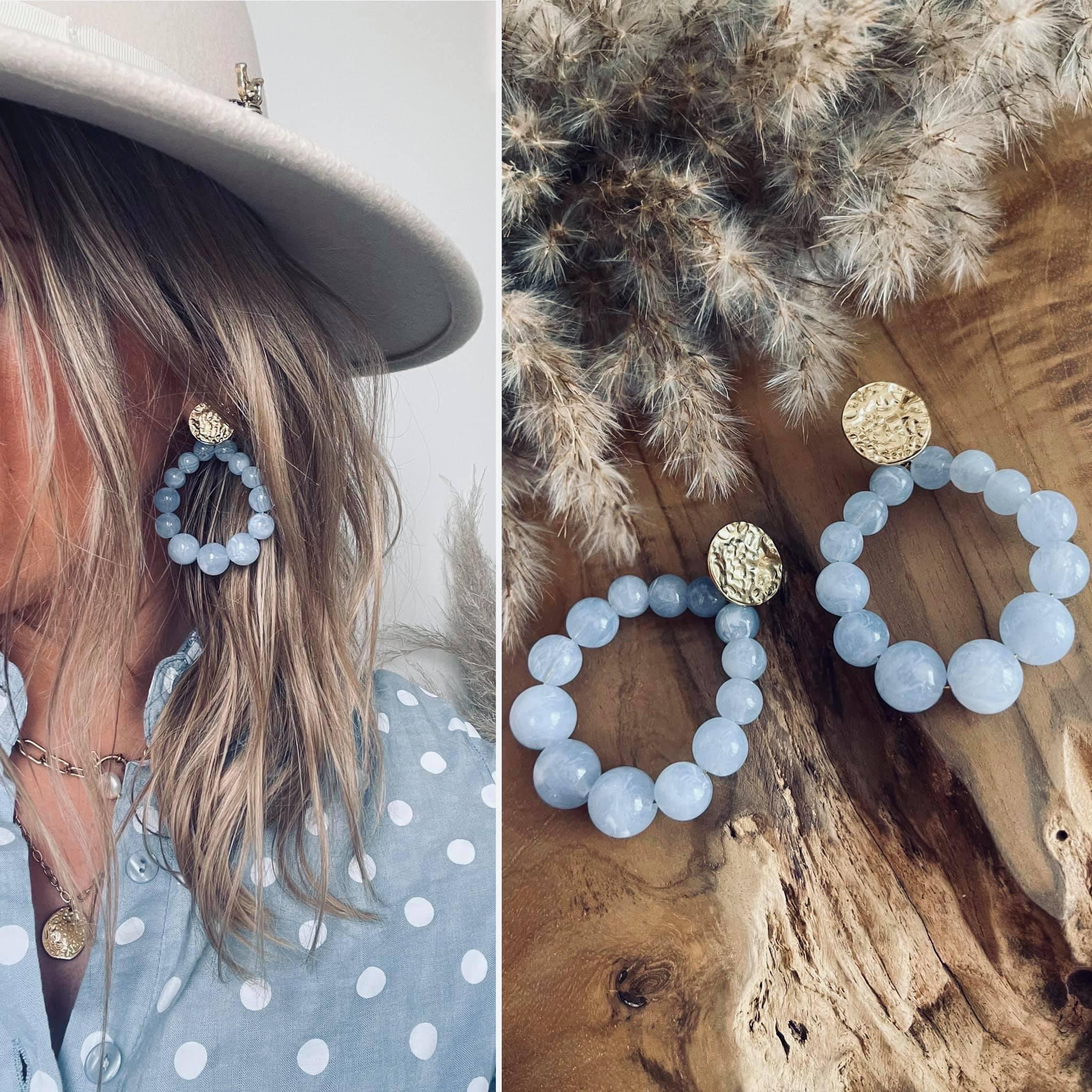 Boucles perles bleu jean en ACIER inoxydable