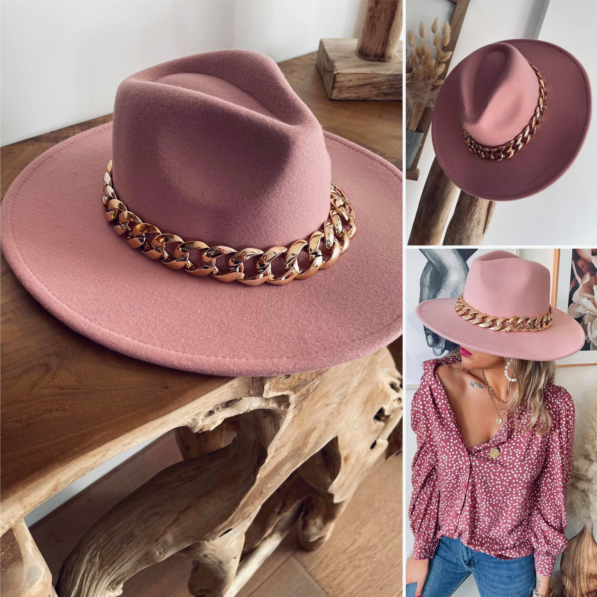 Jazz rose-Chapeau avec chaîne made in ITALY