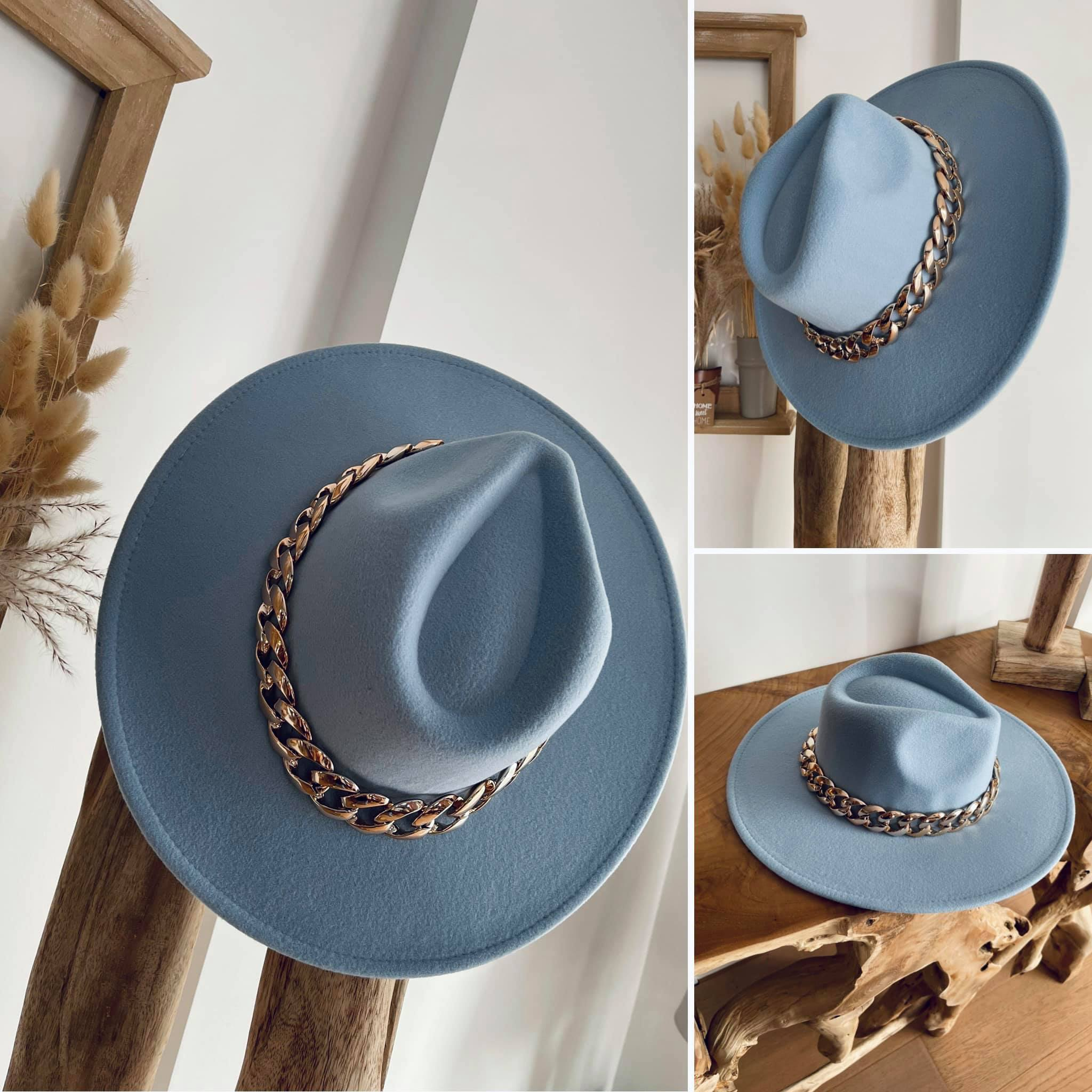 Jazz bleu ciel-Chapeau avec chaîne made in ITALY