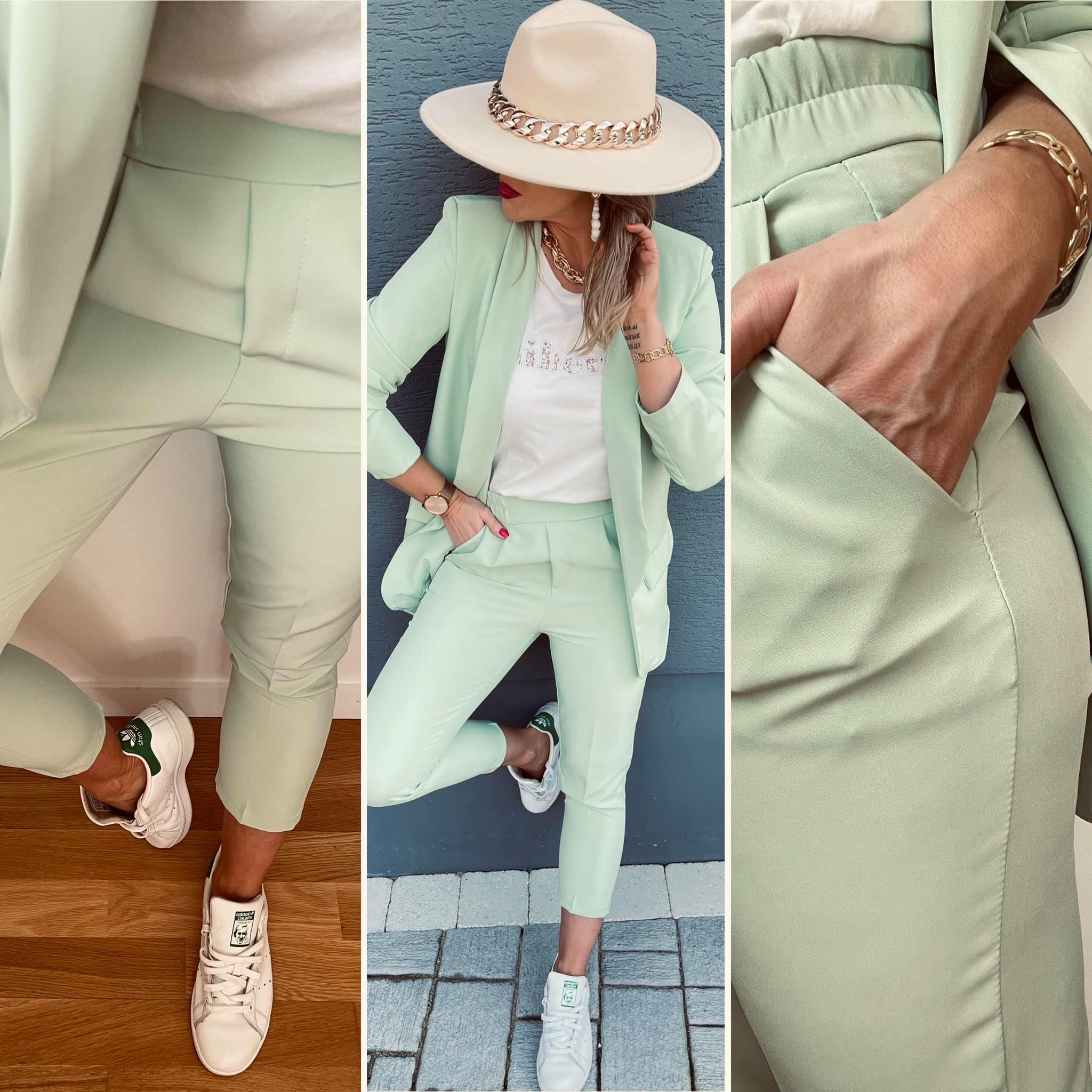 Pantalon 7/8éme vert menthe fabriqué en ITALIE