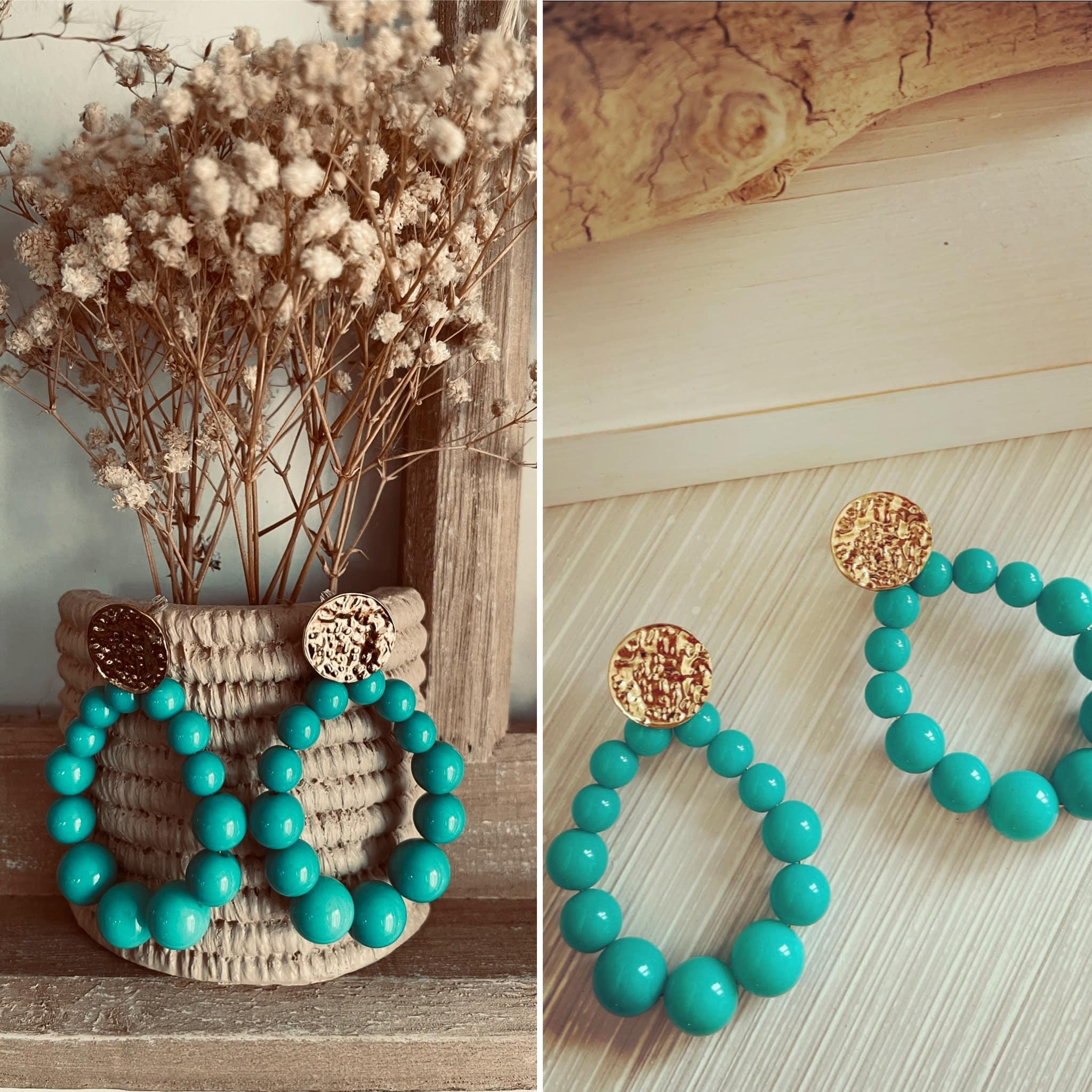 Boucles perles vertes en ACIER