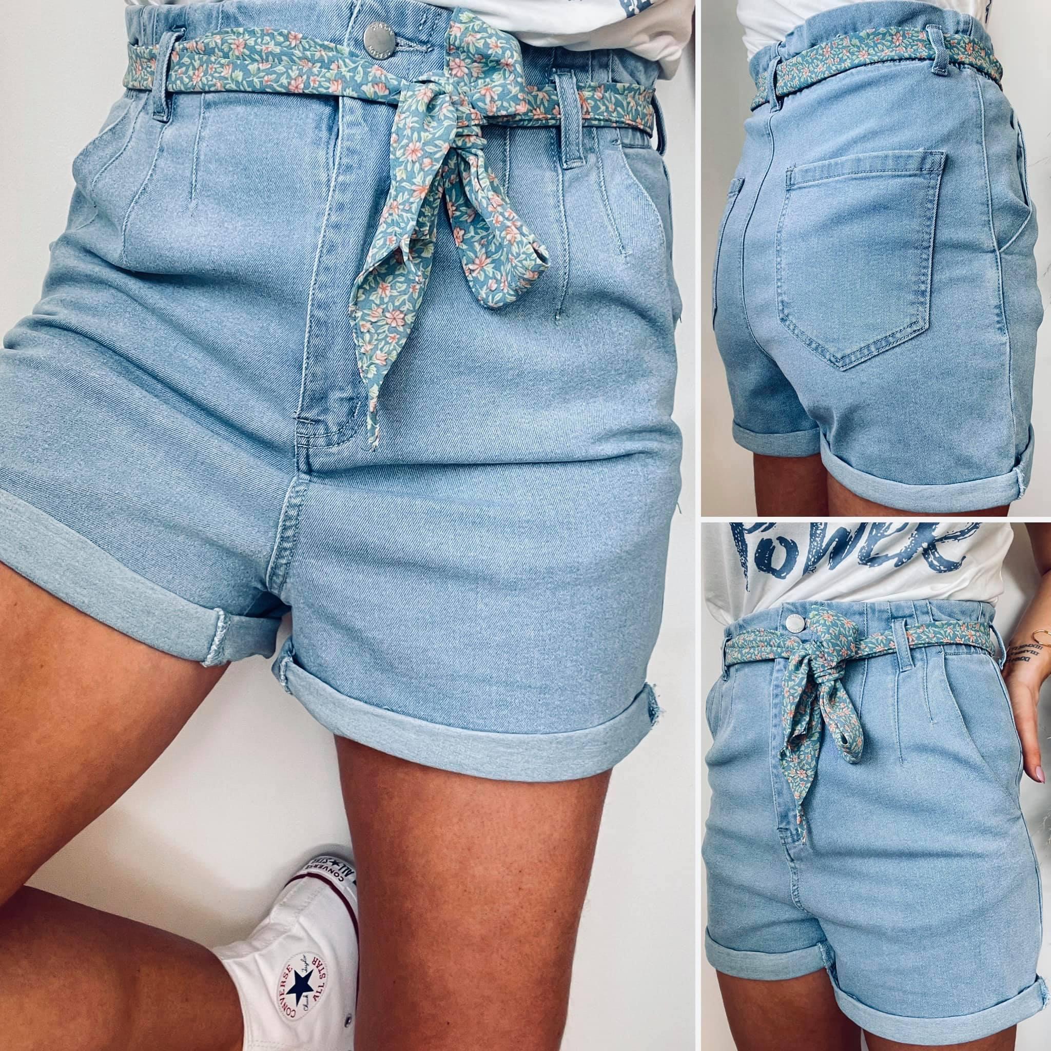 Lalie-Short en jean ceinture liberty