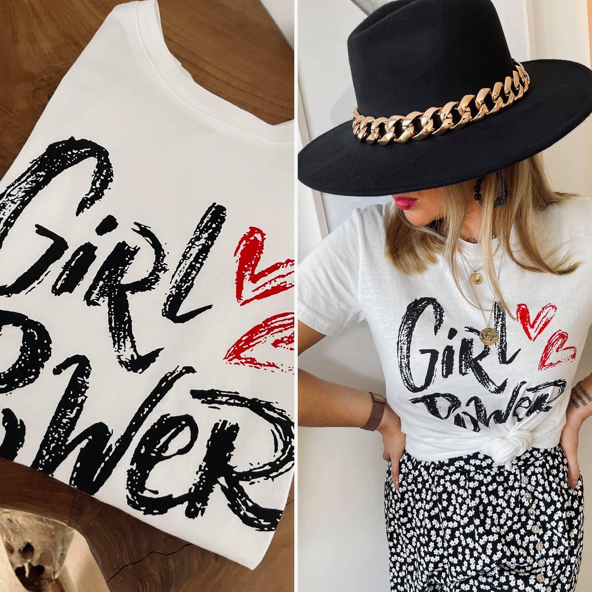 Tee-shirt GIRL POWER blanc/noir